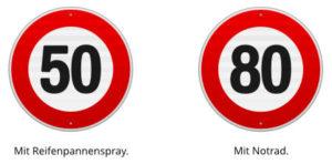 Geschwindigkeitsbegrenzung bei Reifenpannenspray und Notrad